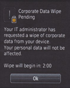 BlackBerry Balance Corporate Data Wipe Screen