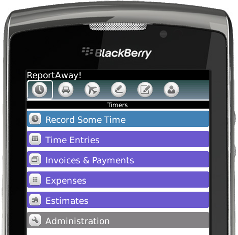 reportaway app for freshbooks and blackberry