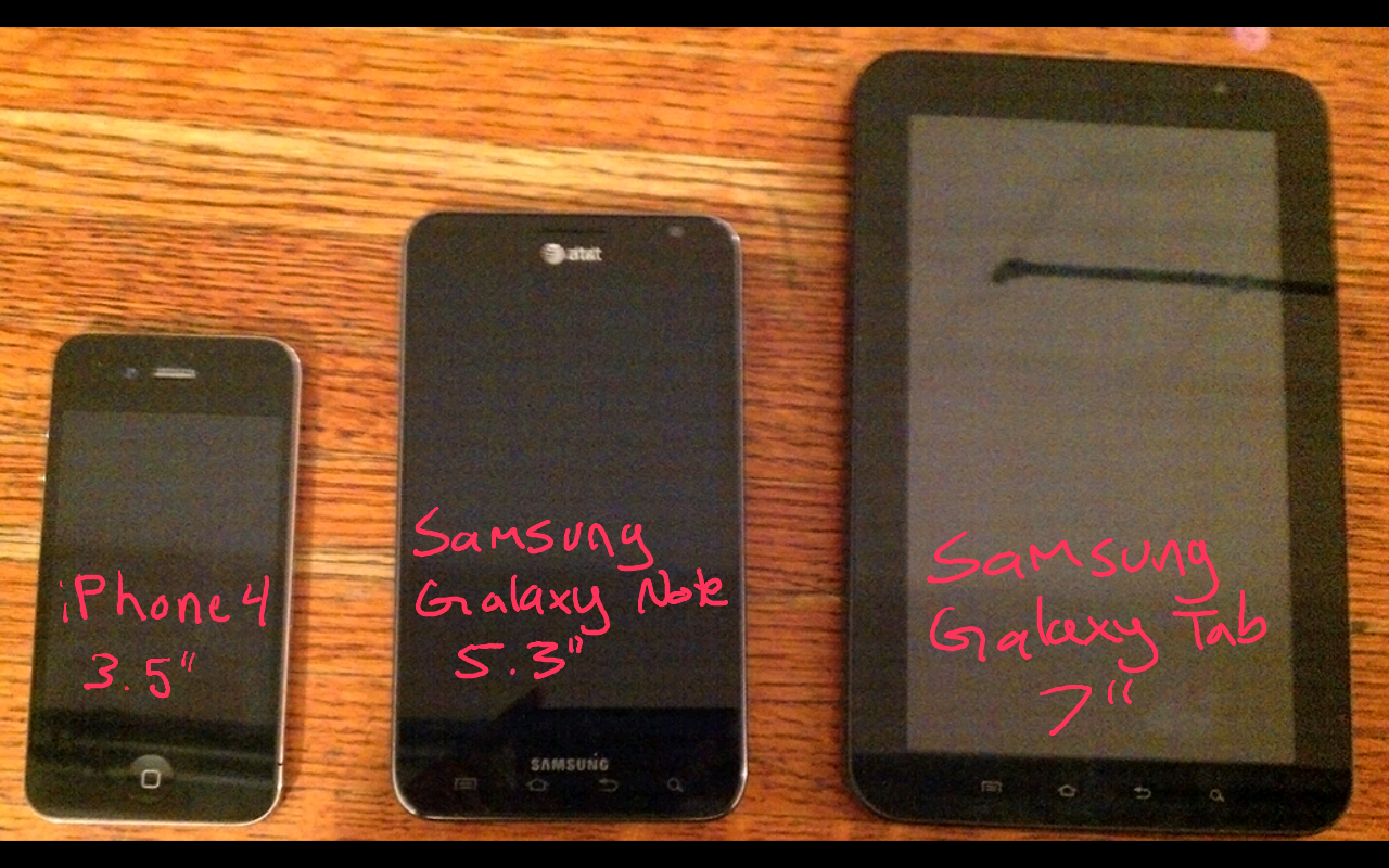 size comparison apple iphone samsung galaxt note tab 7