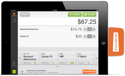 Eventbrite transaction screen on iPad