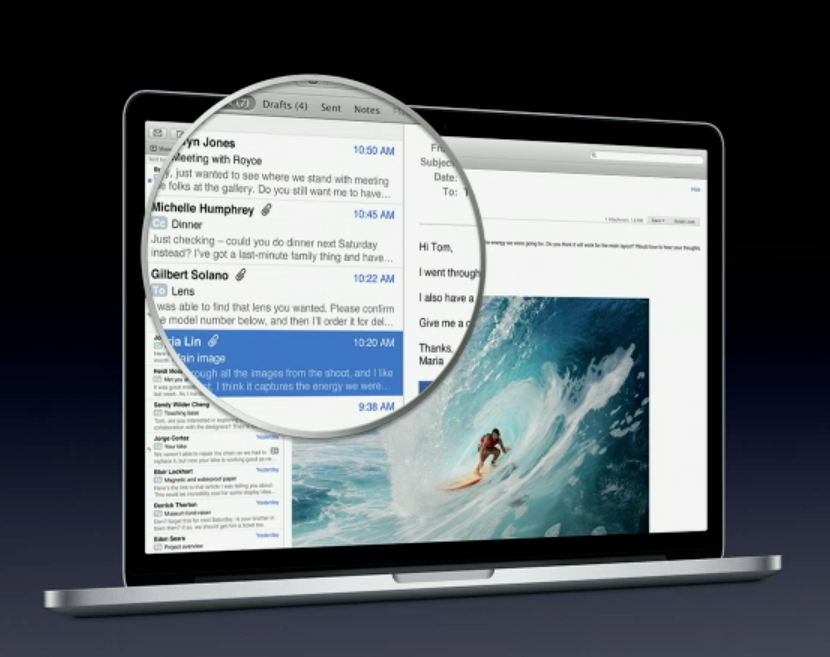 "MacBook Pro 15"" With Retina Display Showing New Retina-Enabled Mail.app"