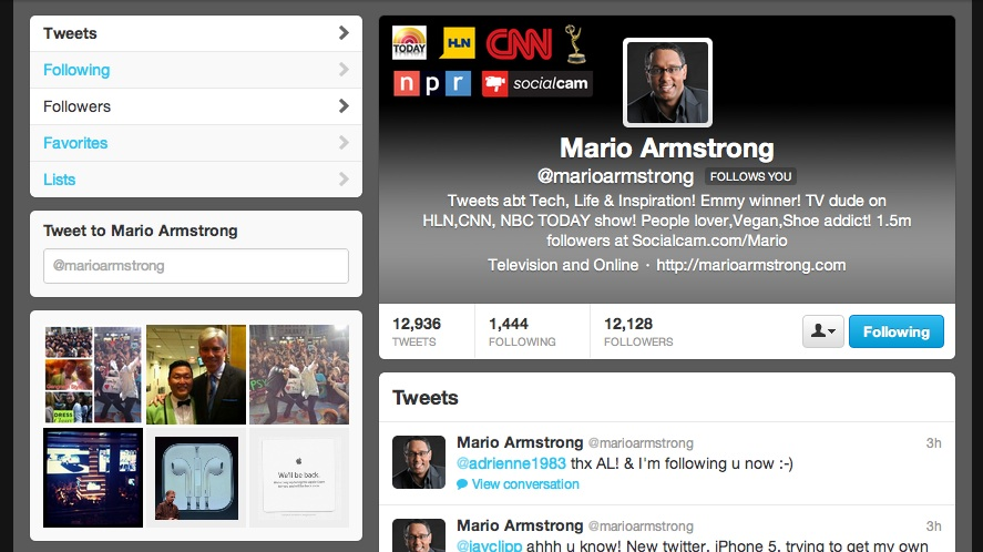 Mario's new Twitter profile page
