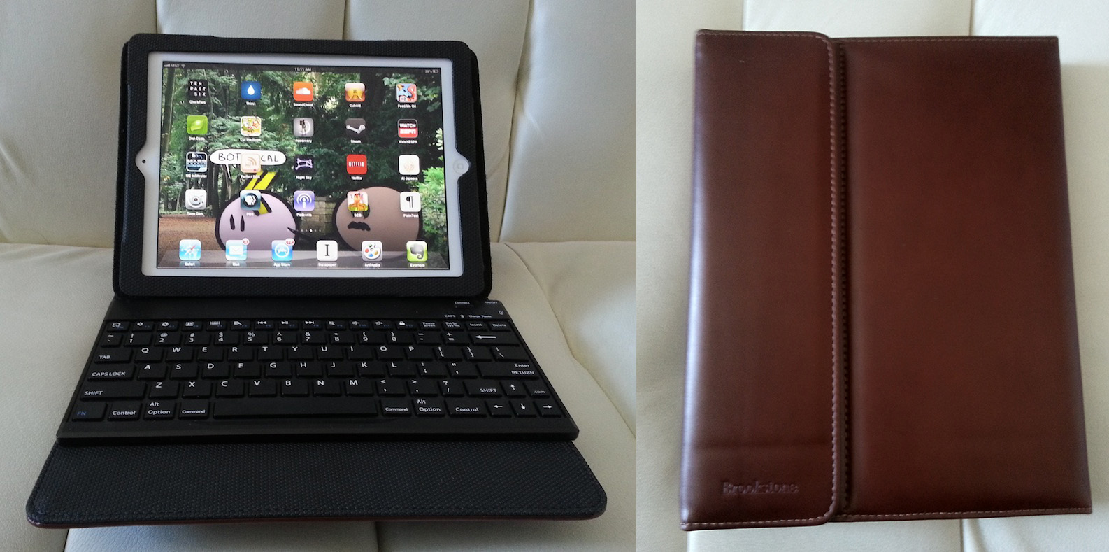 My new office set-up: got my iPad wrapped in soft, brown leather inside the Brookstone Keyboard Pro case.